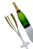 装瓶香槟玻璃 免版税库存照片