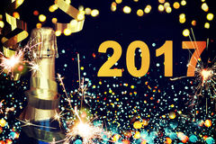 装瓶香槟 新年好 免版税库存图片