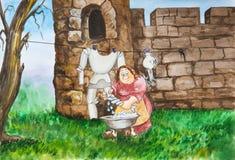 装甲妇女洗涤在水池授以爵位 免版税库存图片