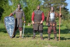 装甲的三个骑士 库存照片