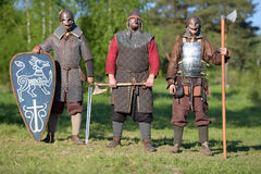 装甲的三个骑士 库存图片