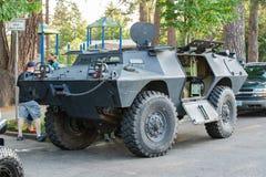 装甲的作战车在公园 库存照片