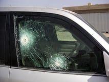 装甲的项目符号汽车玻璃证明 库存照片