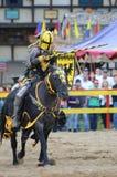 装甲的马背射击的骑士 库存图片