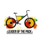 组装的聪慧的激动人心的行情领导 在白色背景的被隔绝的传染媒介 海报的自行车图象, T恤杉 库存照片