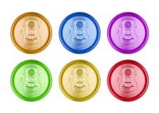 装罐顶视图被隔绝的五颜六色的铝苏打饮料 免版税图库摄影