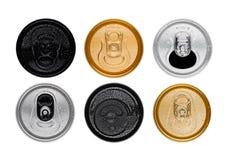 装罐顶视图被隔绝的铝苏打饮料 免版税库存照片