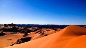 装罐Merzouga沙丘的日落视图在Tassili nAjjer国家公园在阿尔及利亚 库存图片