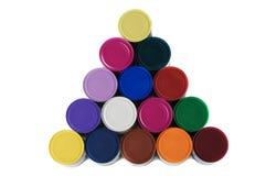 装被绘的五颜六色于罐中 库存图片