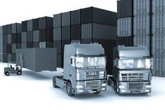 装载卡车的大容器 向量例证