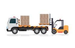 装载卡车的铲车 向量例证