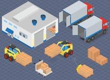 装载或卸载卡车在仓库 铲车移动货物 库存例证