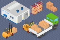 装载或卸载卡车在仓库 免版税库存照片