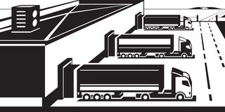 装载物品的卡车在货物终端 向量例证