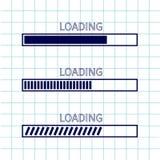 装载的进展状态栏象集合 网络设计app下载定时器 习字簿白色背景被摆正的空白纸  笔记本pa 库存例证