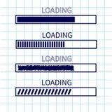 装载的进展状态栏象集合 网络设计app下载定时器 习字簿白色背景被摆正的空白纸  笔记本pa 向量例证