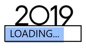 装载的2019新年蓝色创造性的欢乐横幅 库存例证