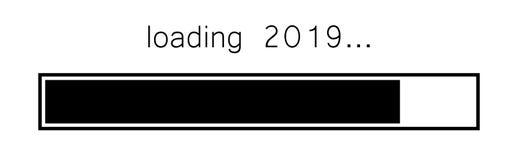 装载的2019新年黑色创造性的欢乐横幅 皇族释放例证