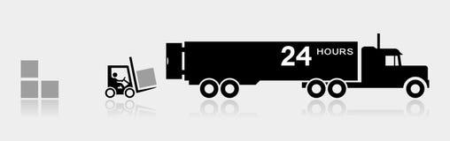 装载箱子的叉架起货车在半拖车卡车 皇族释放例证