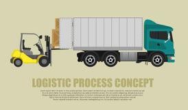 装载者装货和在卡车投入物品 免版税库存图片
