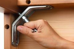 装配有板钳的手木家具 库存图片
