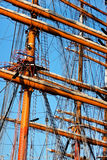 装配船的帆柱争吵高 库存图片