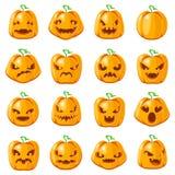 装饰万圣夜起重器o灯笼南瓜可怕面孔微笑emoji象被设置的被隔绝的动画片设计传染媒介 向量例证