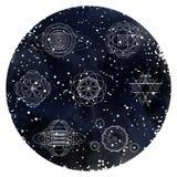 装饰与坛场的卡片在水彩满天星斗的天空 库存例证