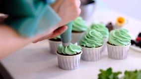 装饰与奶油的杯形蛋糕 使用烹调袋子,做党的糖果商多色杯形蛋糕 妇女的射击  股票视频