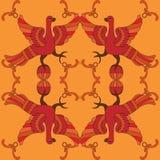装饰与神话鸟的传染媒介无缝的样式 免版税库存图片
