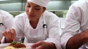 装饰与蓬蒿叶子的厨师行意粉盘 股票录像