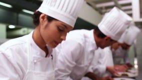 装饰与蓬蒿叶子的厨师队意粉盘 股票视频