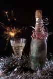 装饰与玻璃和闪烁发光物的瓶莓果 库存照片