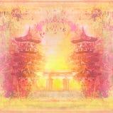 装饰中国风景卡片 免版税库存照片