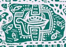 装饰乌龟和抽象花饰 免版税库存图片