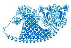 装饰乱画鱼标志图画  库存图片