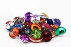 装饰五颜六色的葡萄酒缝合的按钮或剪贴薄按钮 库存图片