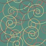 装饰例证模式无缝的向量 葡萄酒与多色漩涡的绿松石背景 免版税图库摄影