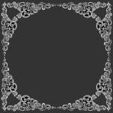 装饰元素框架,葡萄酒银色花卉设计 免版税库存照片