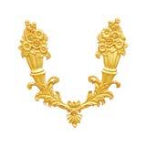 装饰元素,在白色的葡萄酒金子花卉设计 免版税库存图片