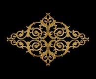 装饰元素,在黑色的葡萄酒金子花卉设计 库存照片