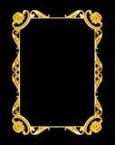 装饰元素,葡萄酒金框架花卉设计 免版税库存照片