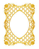 装饰元素,葡萄酒金框架花卉设计 免版税图库摄影