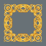 装饰元素,葡萄酒金框架花卉设计 库存照片