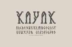 装饰几何平板细体字体 免版税库存图片