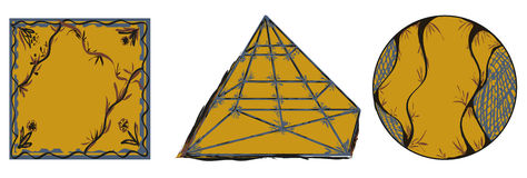 装饰几何形状圈子四角锥 图库摄影