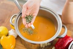 装饰刷新的圆滑的人或纯汁浓汤的手 库存照片
