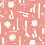 装饰化妆用品的无缝的样式 库存图片
