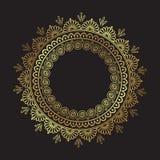 装饰印地安圆的鞋带华丽金坛场被隔绝在黑背景艺术框架设计传染媒介例证 库存例证