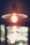 装饰古色古香的爱迪生带领了轻的样式细丝电灯泡, 库存照片